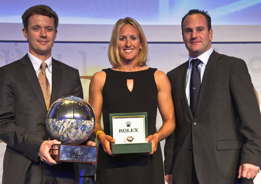 Anna Tunnicliffe receives the World Sailor Trophy