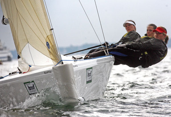 The German crew of Svenja PULS, Janika PULS and Nele-Marie BOCK test out the new Elliott 6m women's match racing boat