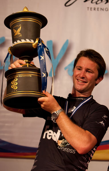 World Tour winner Adam Minoprio with the ISAF Match Racing World Championship Trophy