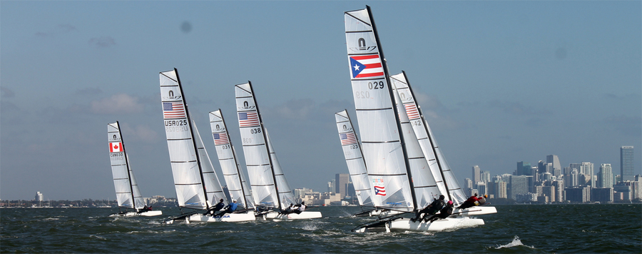 The first ever Nacra 17 race gets underway at ISAF Sailing World Cup Miami