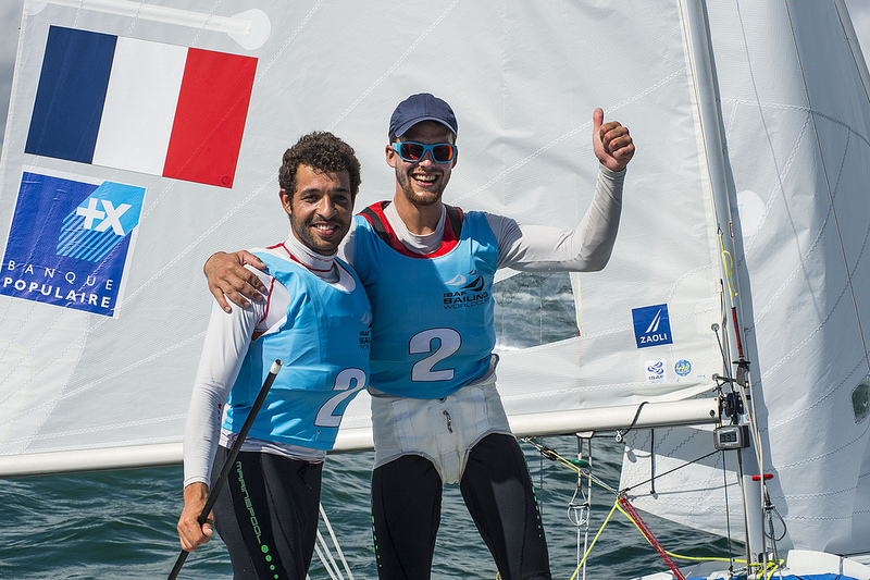 Bouvet and Mion celebrate their Men's 470 victory