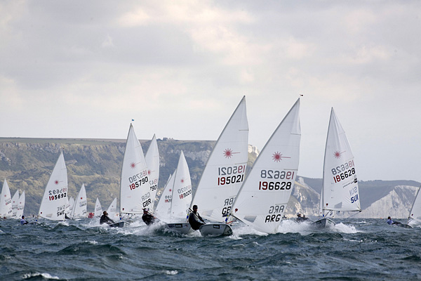 The Laser fleet in Weymouth