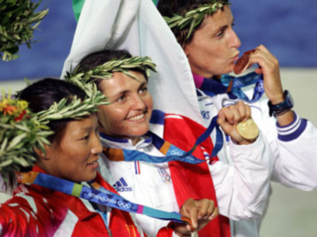 The women's windsufer podium at the 2004 Olympic Games