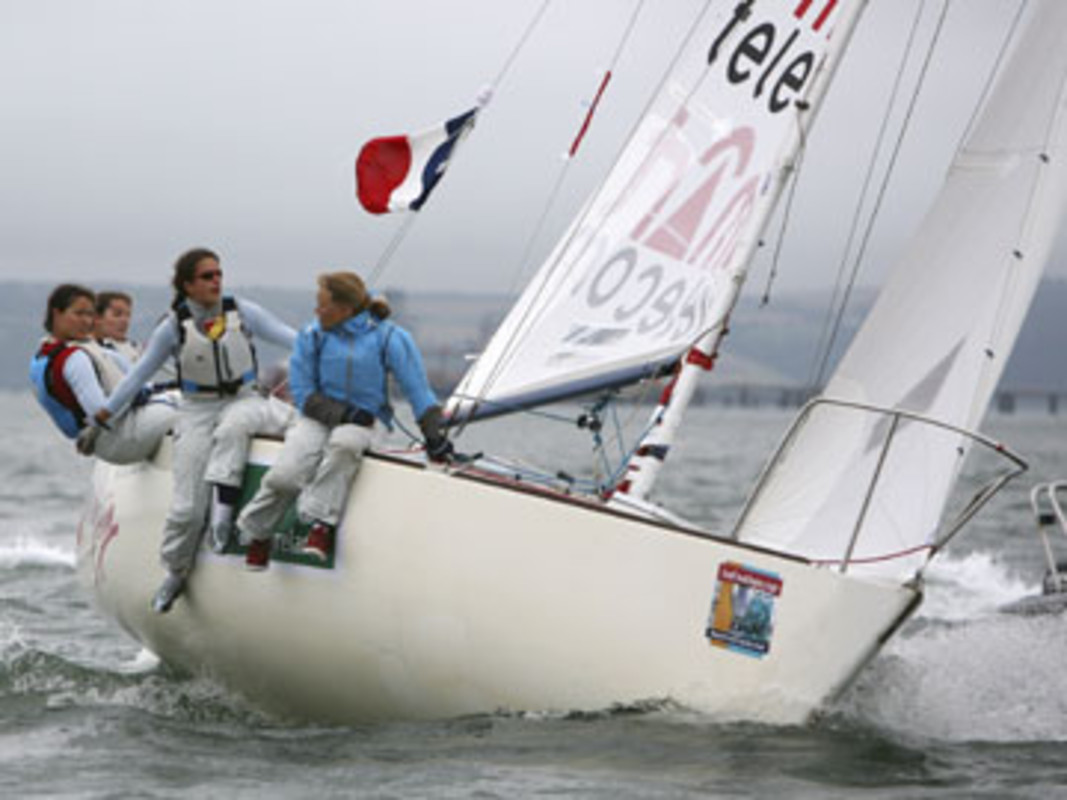 Claire LEROY and her French team on their way to victory at the 2006 ISAF Nations Cup Grand Final