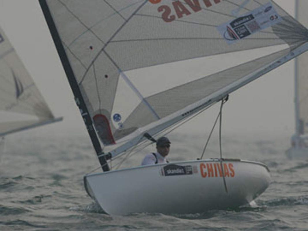 Ben AINSLIE in the fog on day seven at the Qingdao International Regatta
