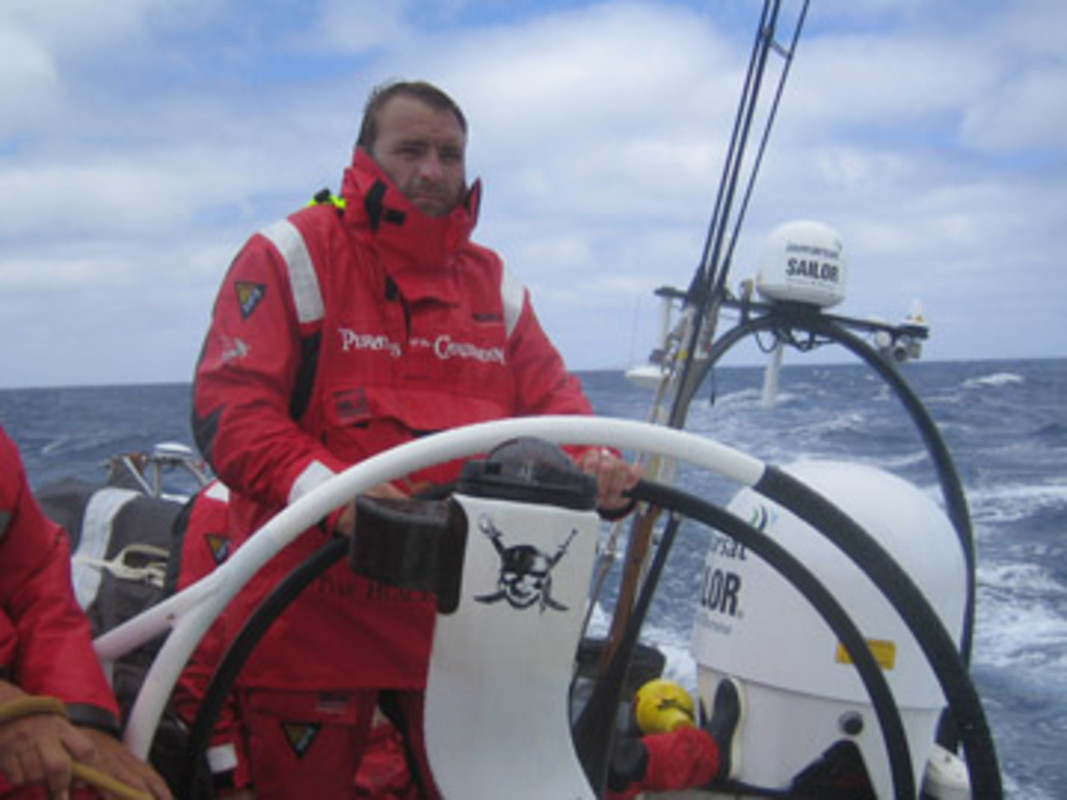 Jules SALTER at the helm of The Black Pearl during the last VOR