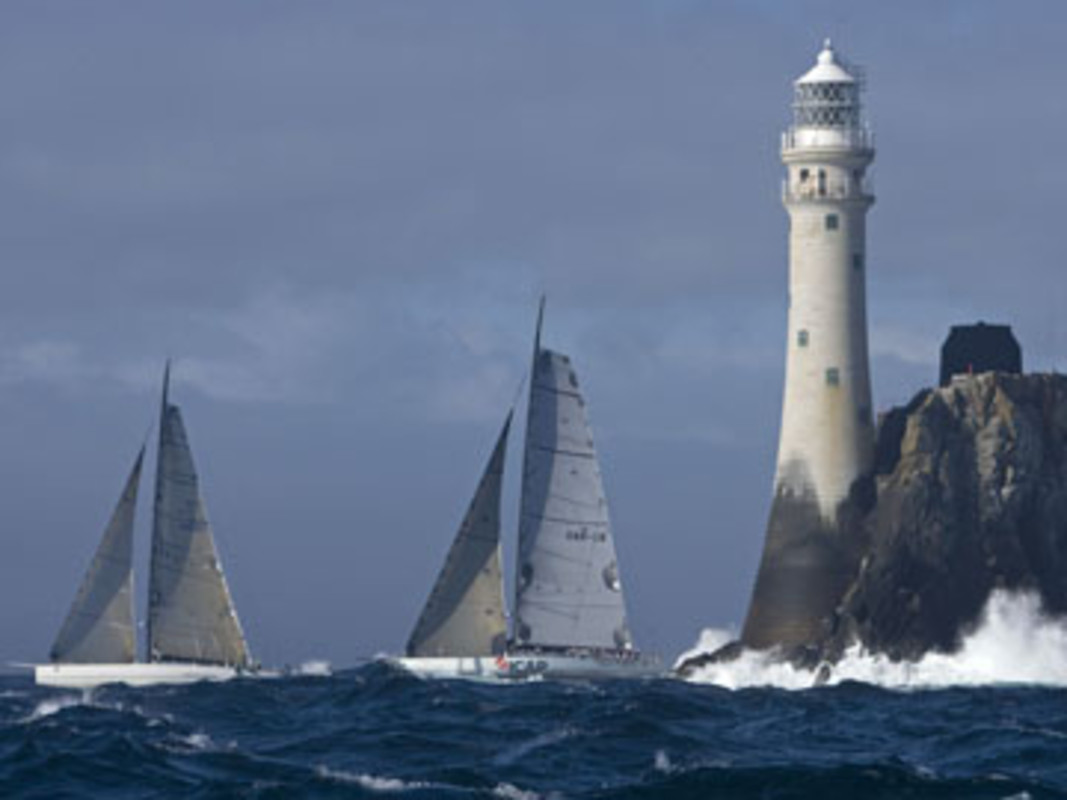 Rambler and ICAP Leopard are the first boats to round the Fastnet Rock in the 2007 race