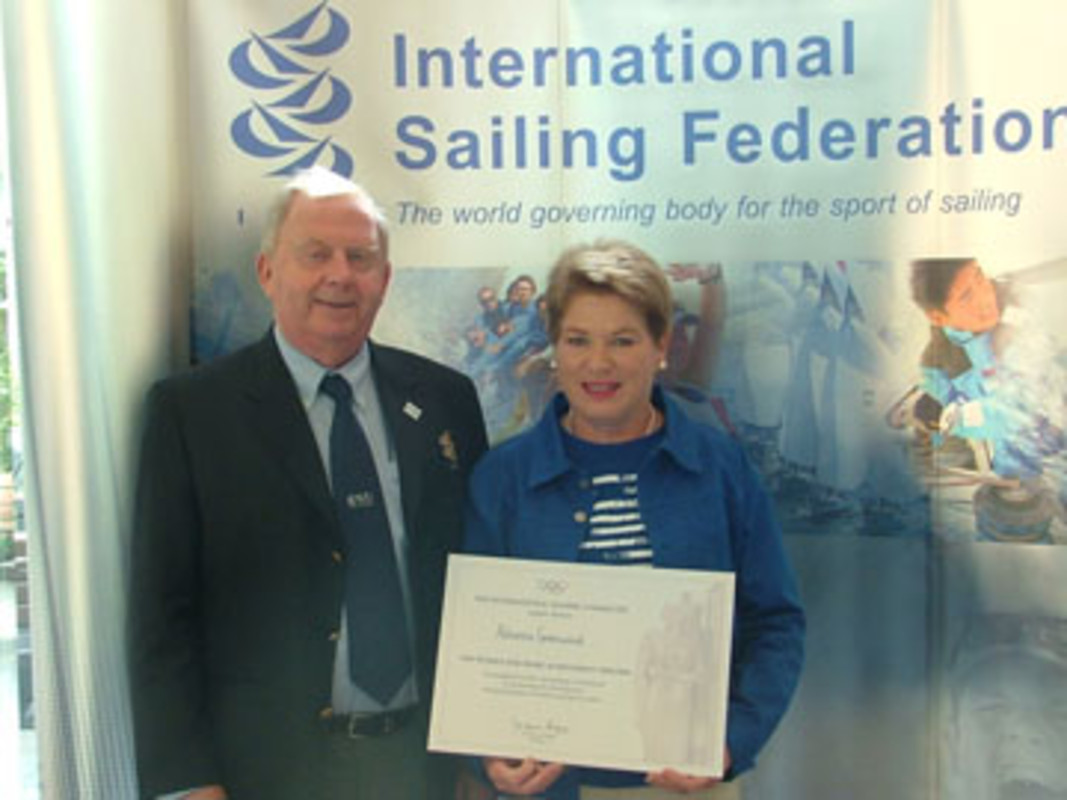 The ISAF President congratulates Adrienne GREENWOOD