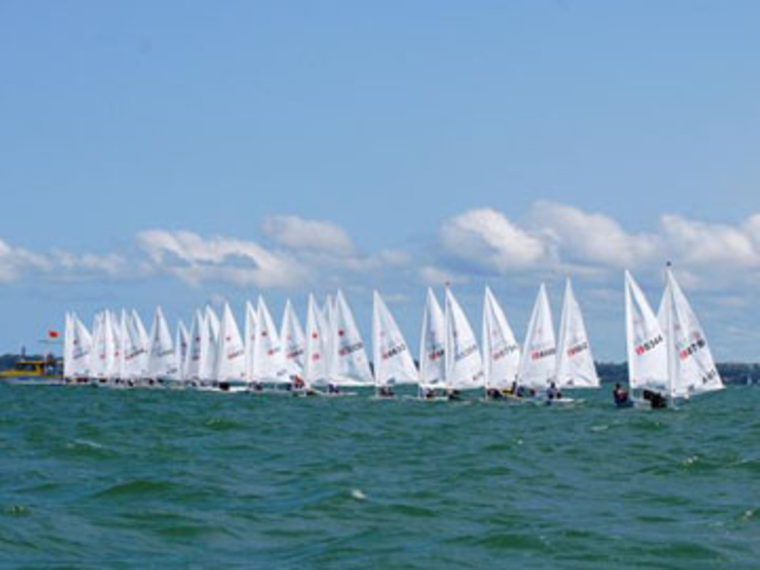 The Laser fleet at the start