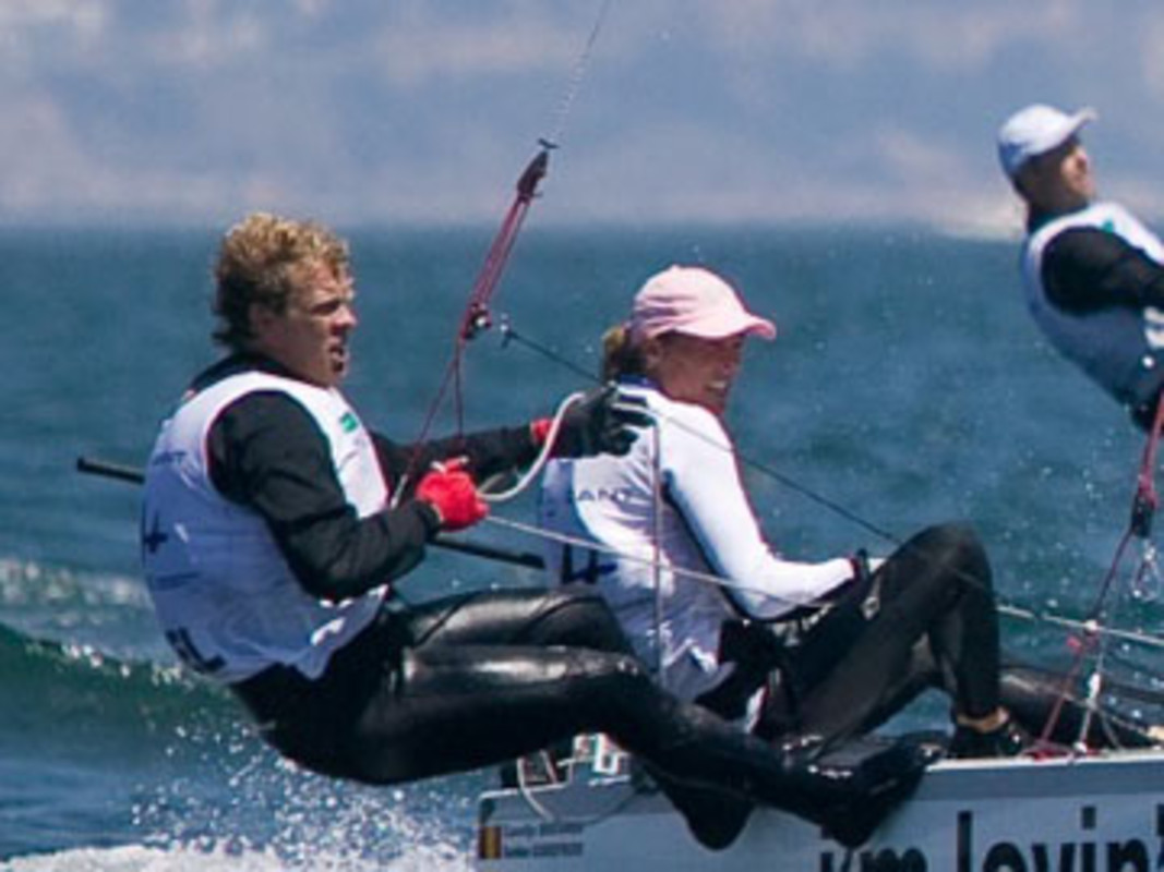 Carolijin BROUWER and Seb GODEFROID competing at the 2007 ISAF Sailing World Championships
