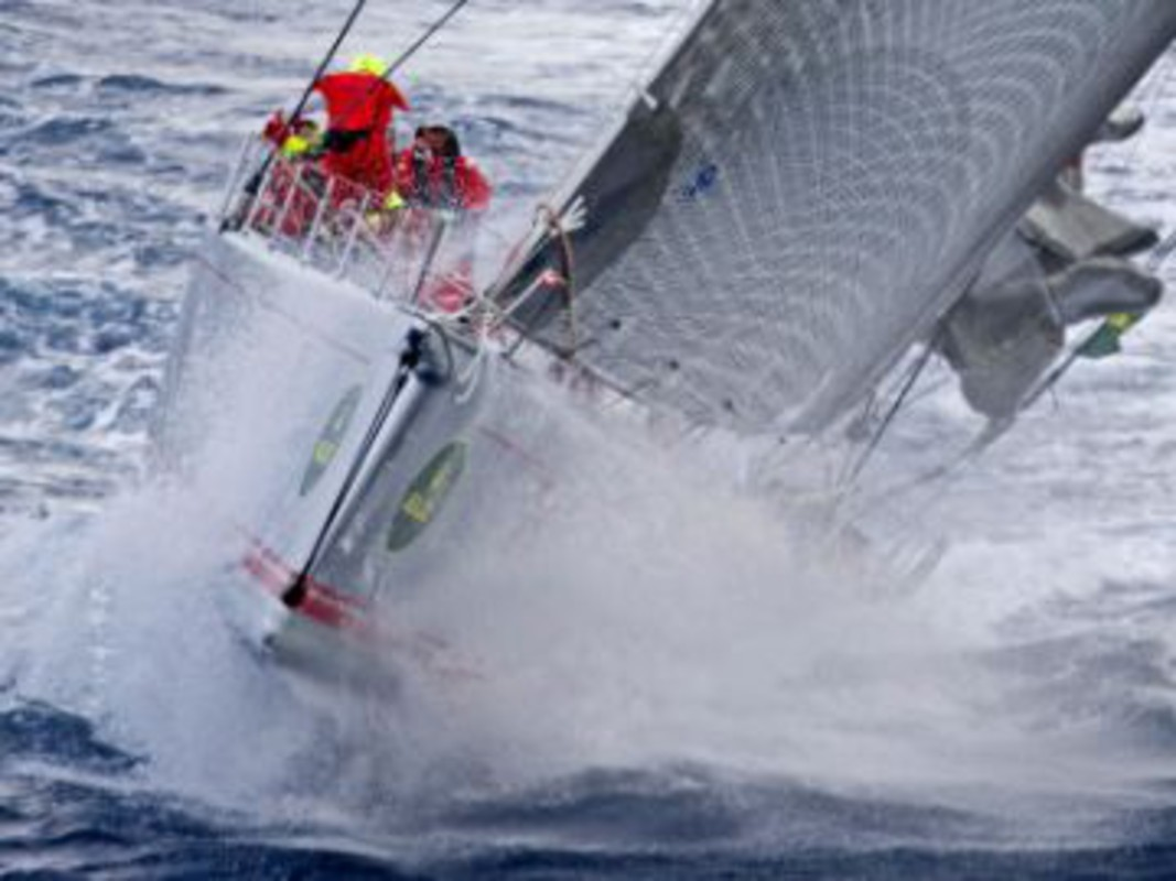 Wild Oats XI in the breeze in the Bass Strait