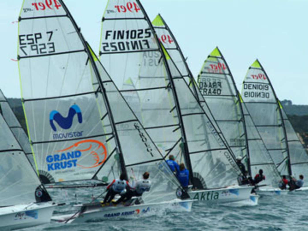 The 49er fleet at the start of racing