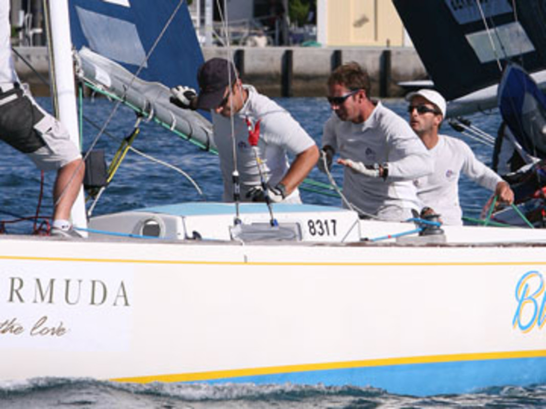 Mathieu RICHARD, far right, and his French Match Racing Team/Team French Spirit compete at the World Tour in Bermuda