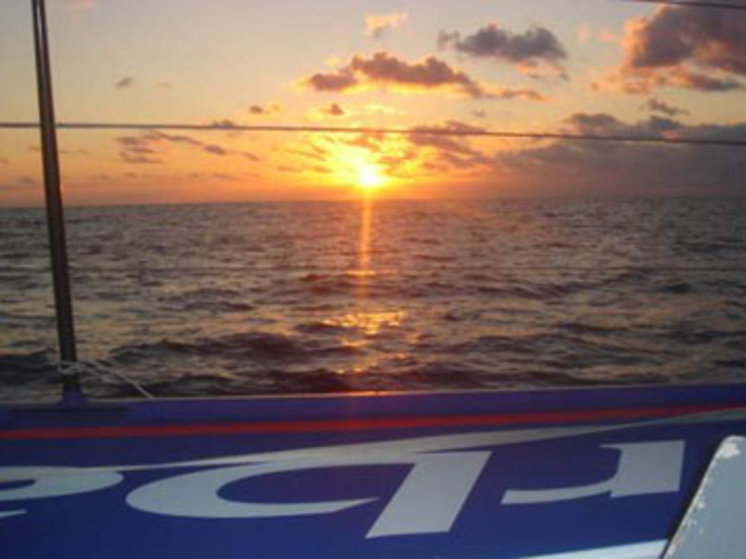 Last sunrise of the day onboard Paprec-Virbac 2 for their Barcelona World Race