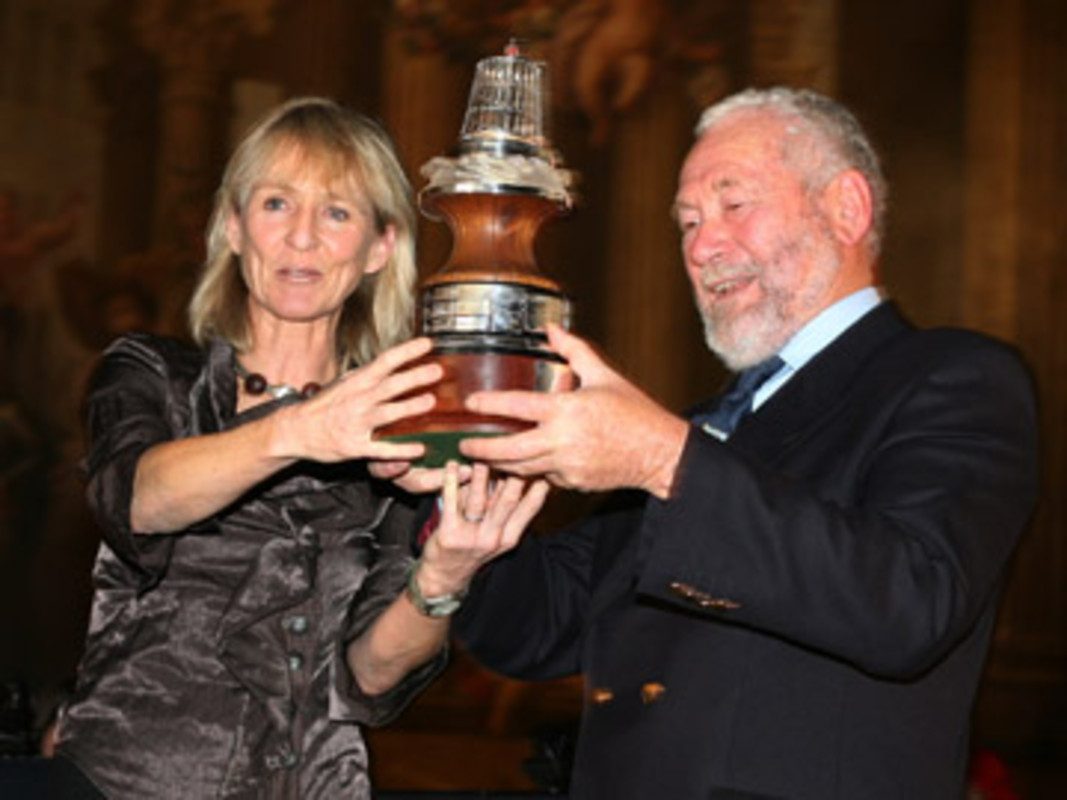Lady Pippa BLAKE (left) presents the Yachtsman of the Year trophy to Sir Robin KNOX-JOHNSTON