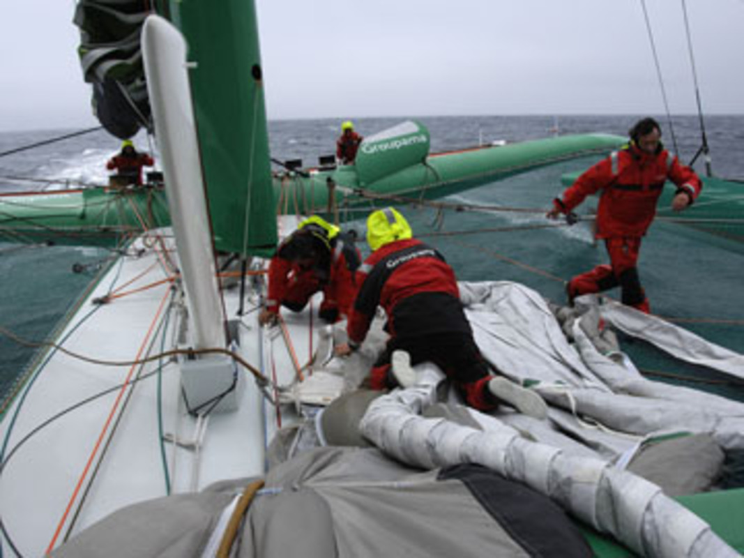 The crew onboard Groupama 3