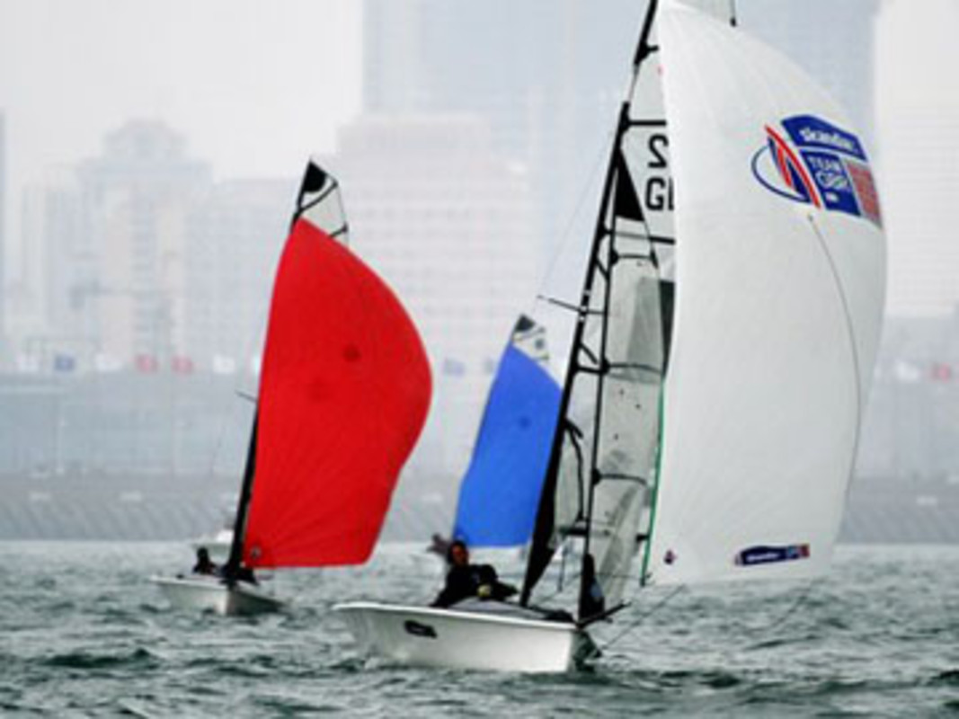 The SKUD18 fleet in action on Fushan Bay