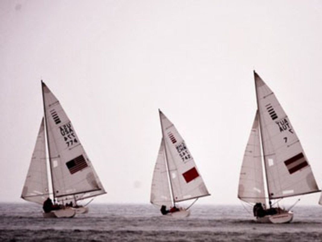 The Sonar fleet at the IFDS Qingdao International Regatta