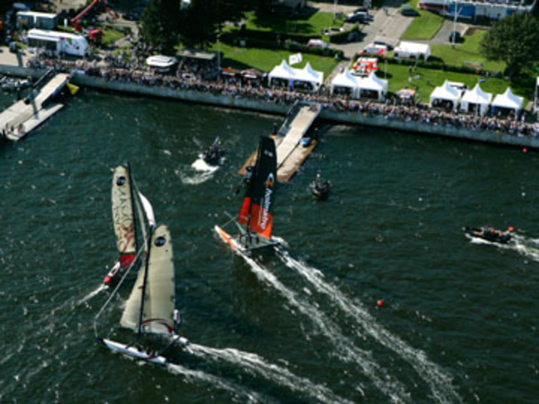 An aerial view of the Extreme 40s racing at Kiel
