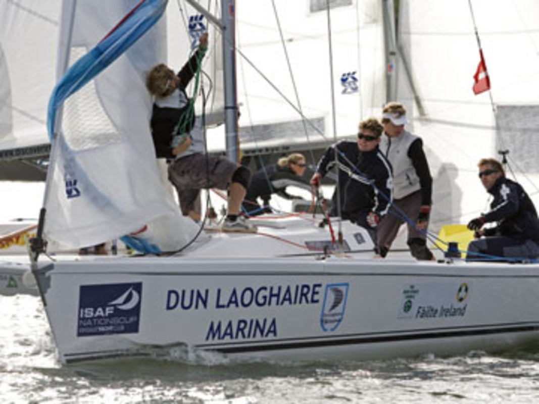 Denmark's Mads EBLER (right) calls for a spinnaker hoist