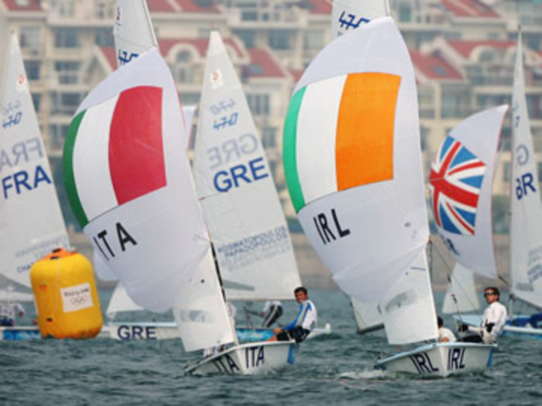 Gabrio Zandona and Andrea Trani of Italy (C) and Ger Owens and Philip Lawton of Ireland (R)