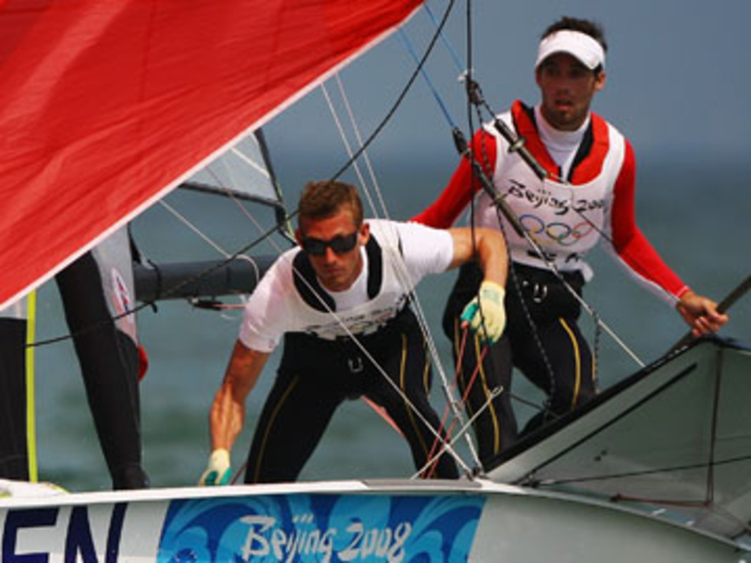 Jonas Warrer (r) and Martin Kirketerp Ibsen compete at the Beijing Olympics Games