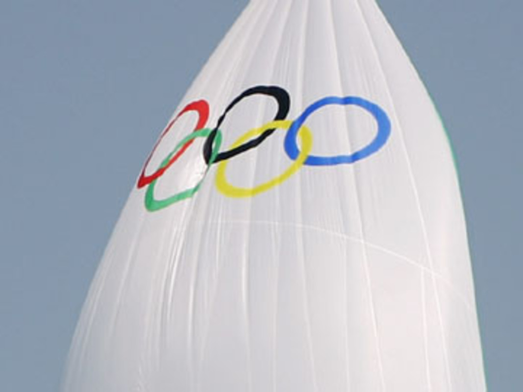The Olympic Rings on the 49er sail