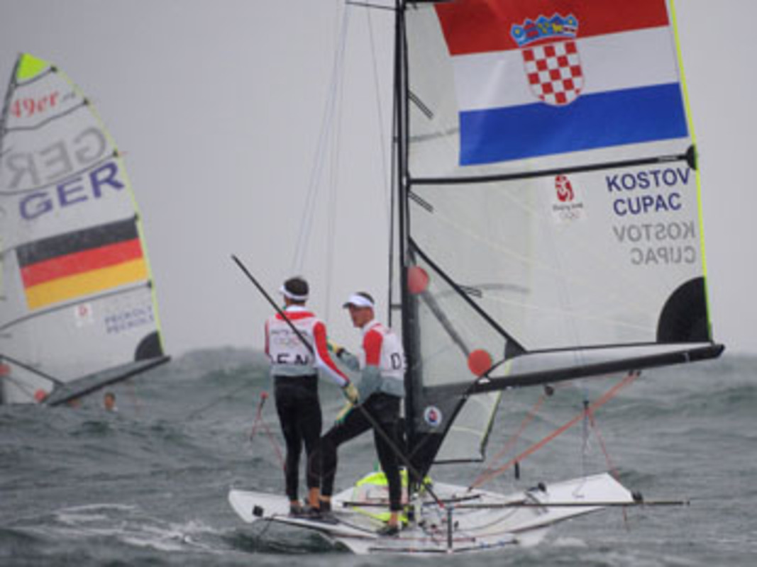 Sailor's Jonas Warrer and Martin Ibsen of Denmark onboard the 49er of Croatia