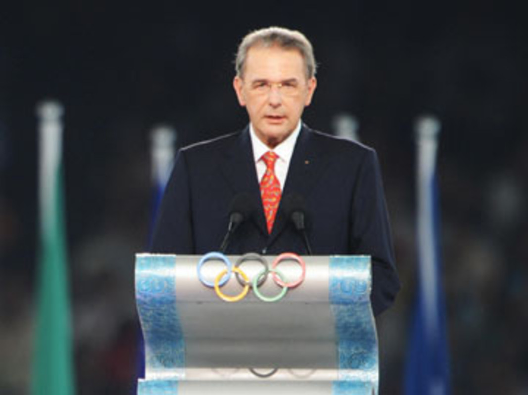 IOC President Jacques ROGGE speaks during the closing ceremony of the 2008 Beijing Olympic Games