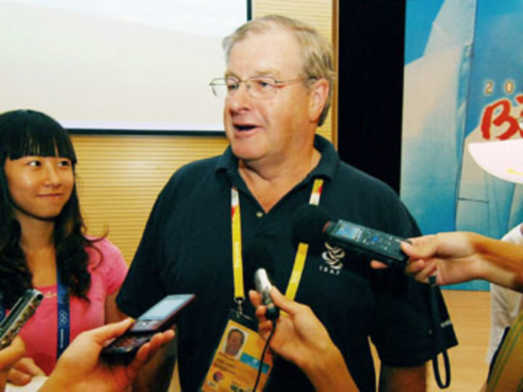 David KELLETT answers questions from reporters at Beijing 2008