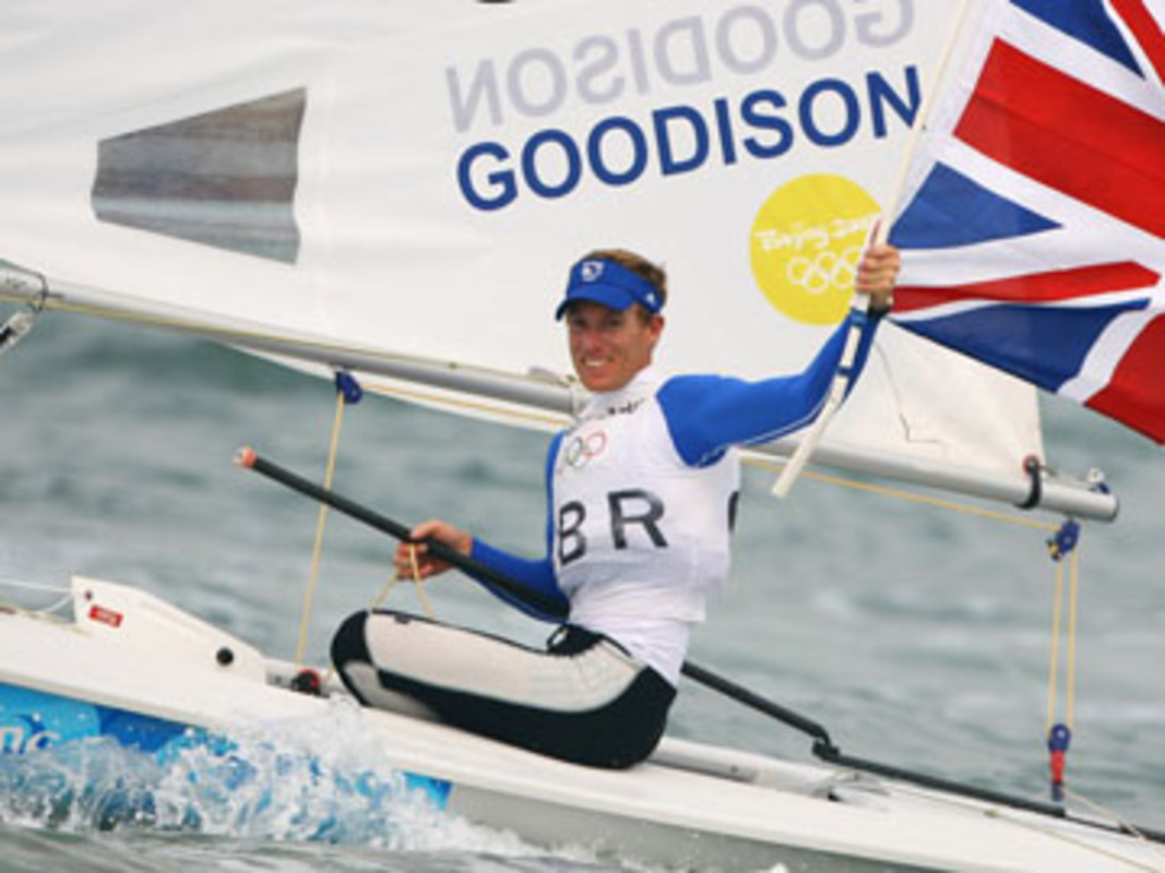 Paul Goodison of Great Britain celebrates winning gold in Qingdao