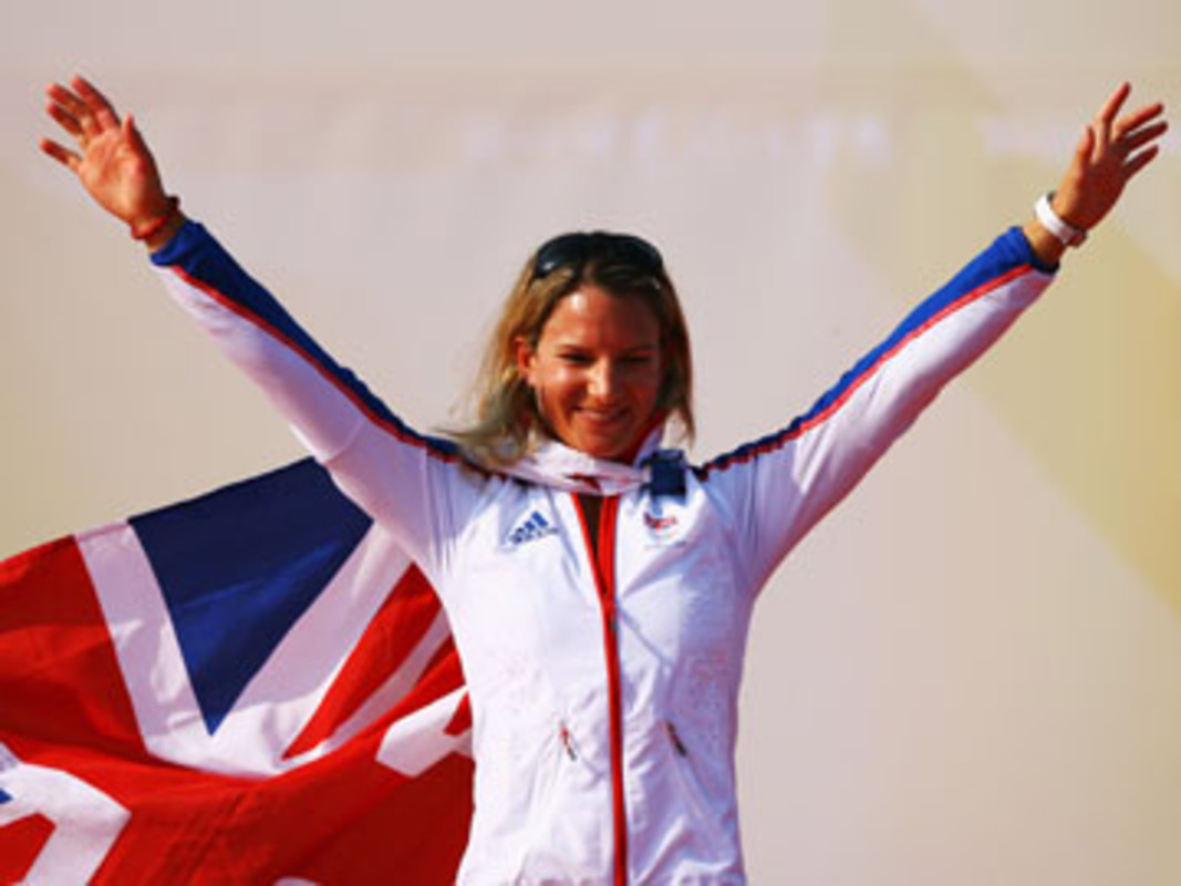 Bryony Shaw of Great Britain collects her bronze medal at the 2008 Olympics