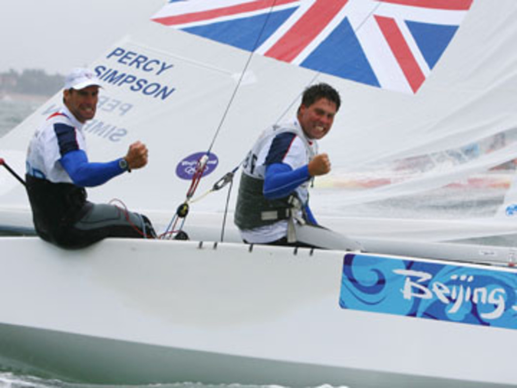 Iain PERCY and Andrew SIMPSON celebrate gold in Beijing