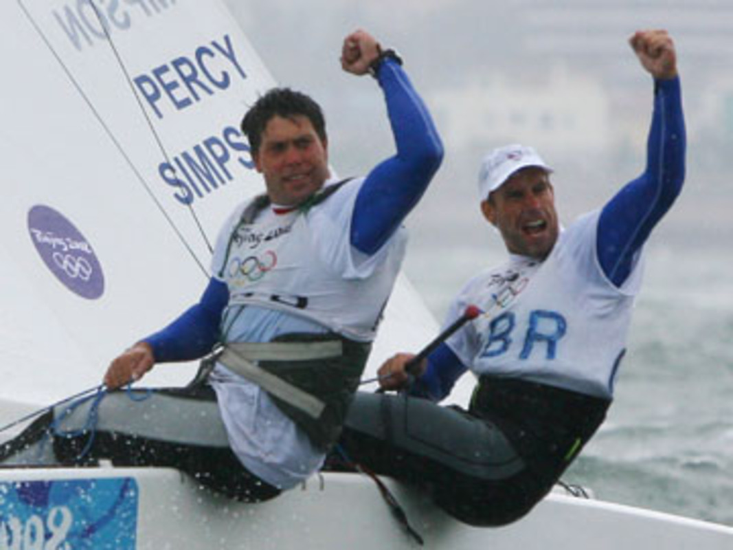 Iain Percy (R) and Andrew Simpson of Great Britain