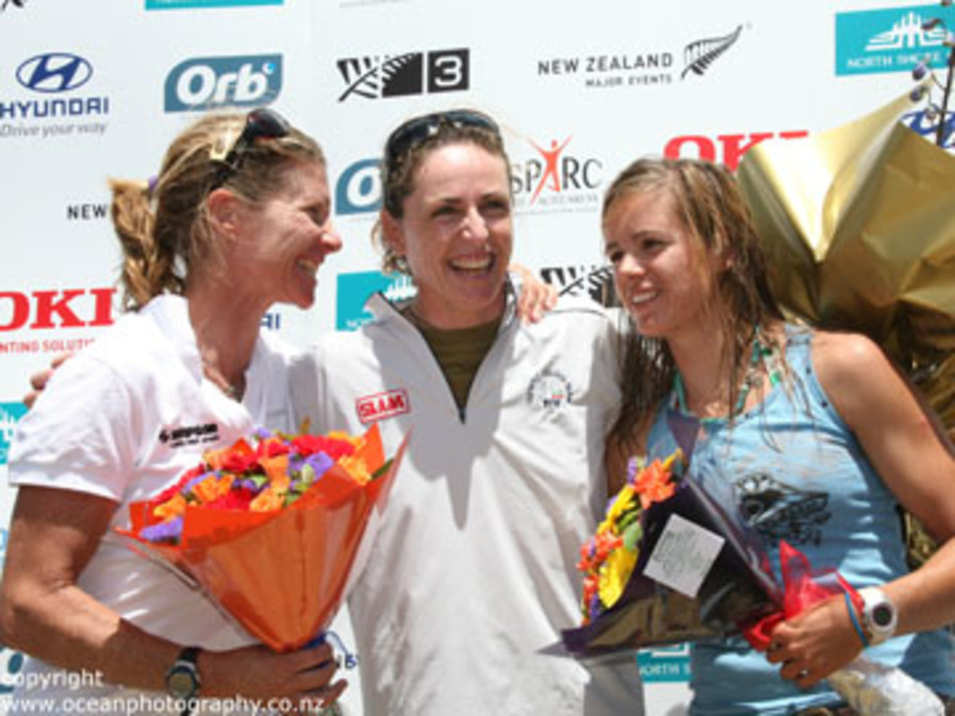 The women's windsufer podium at the 2008 RS:X Worlds