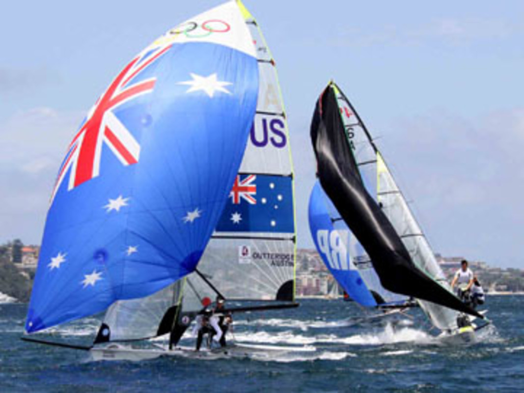 Nathan Outteridge and Iain Jensen competing against each other at last year's Sail Sydney