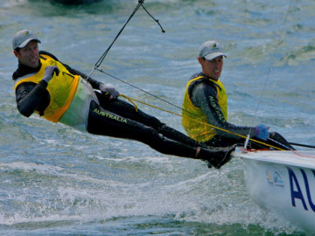 Mathew Belcher and Malcolm Page on their way to victory at Sail Melbourne in 2008