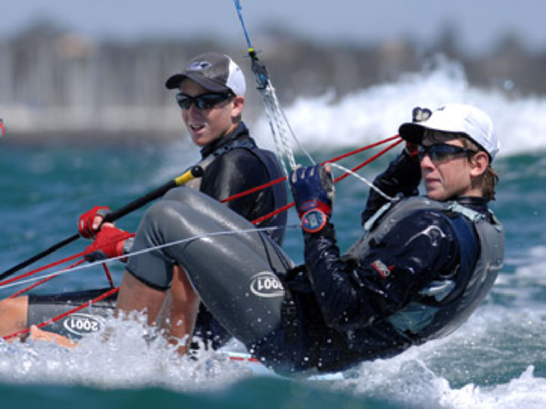 Carl EVANS and Peter BURLING competing at Sail Melbourne
