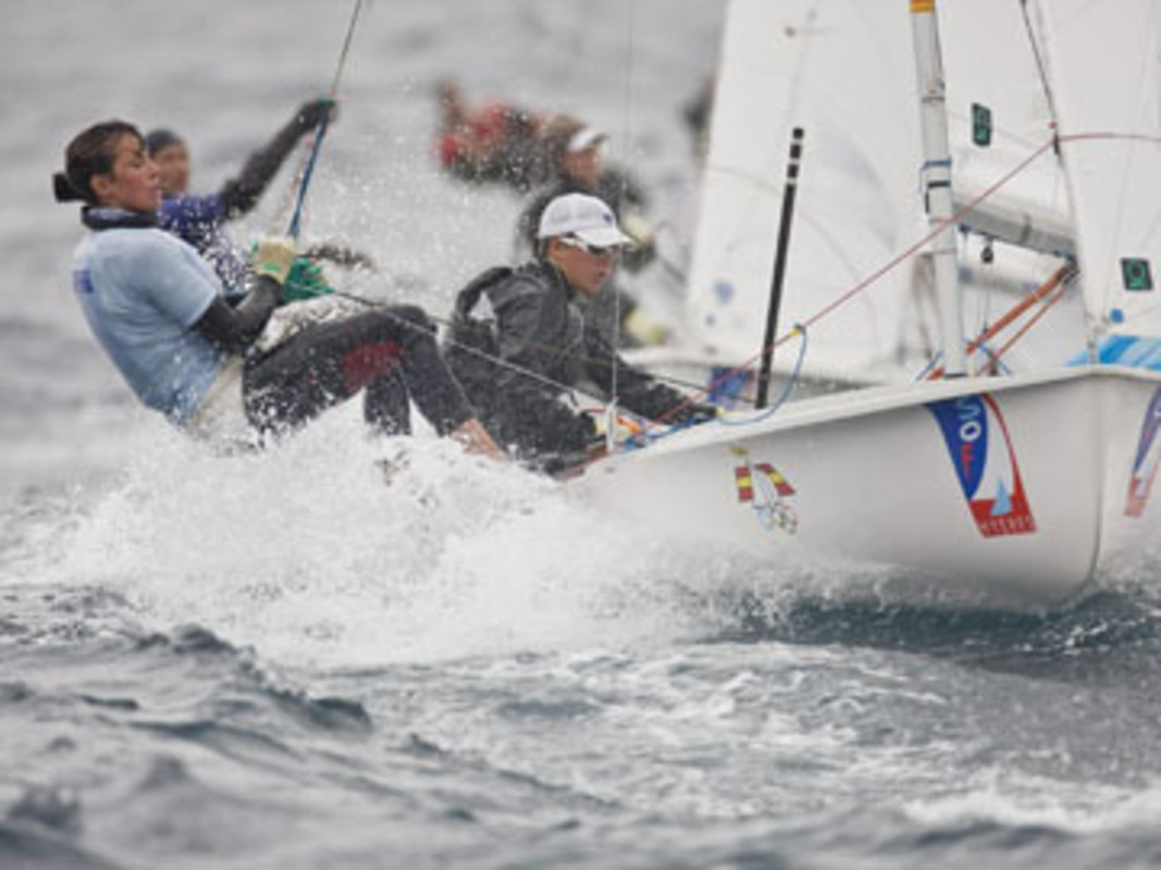 Action from the 470 course on day one
