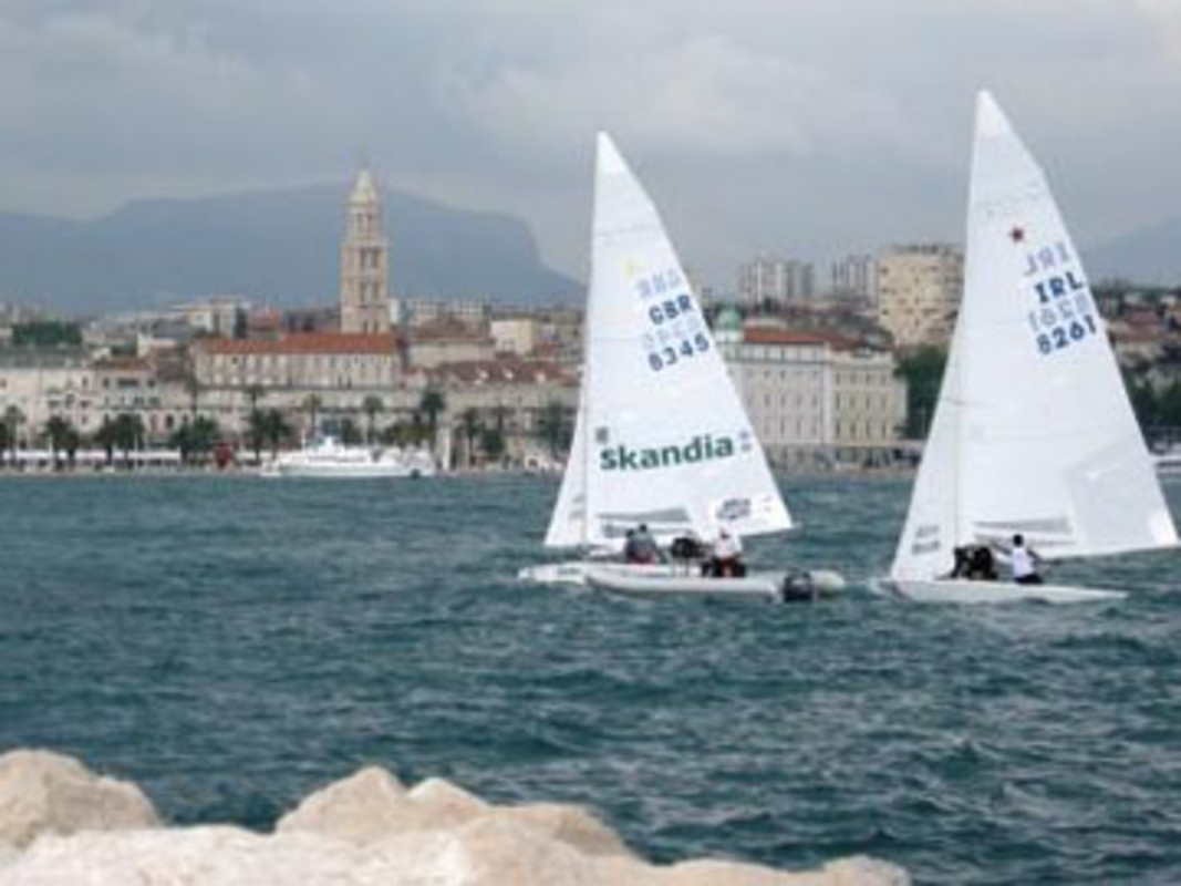 Returning from the practice race to Split Harbour with Diocletian's Palace in the background