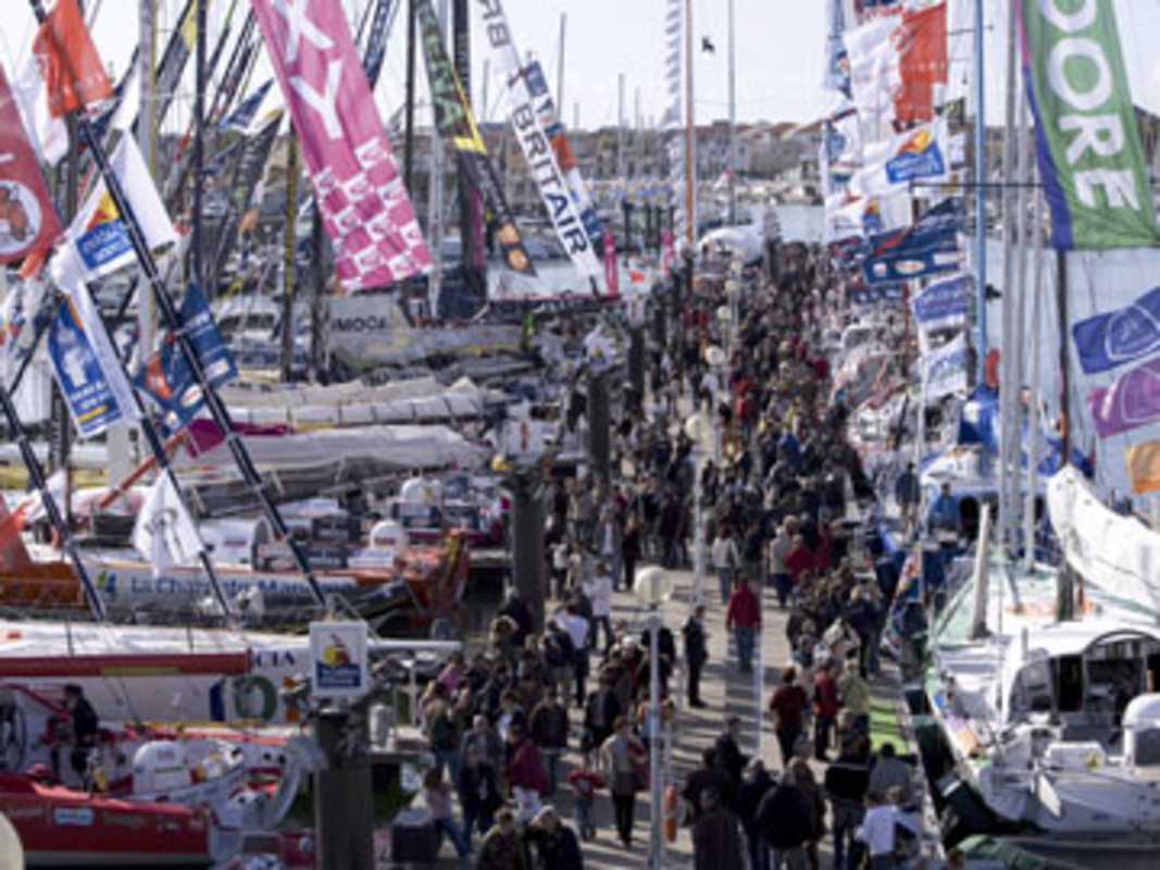 The packed race village in Les Sables d'Olonne