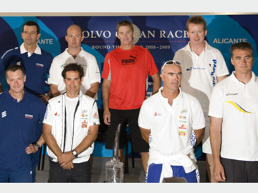 The eight skippers at the Press Conference in Alicante, Spain, prior to the start of leg 1