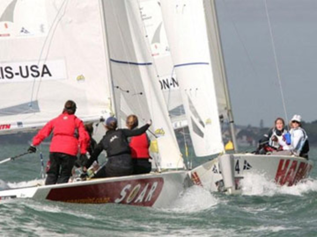 Action from the 2008 ISAF Women's Match Racing World Championship