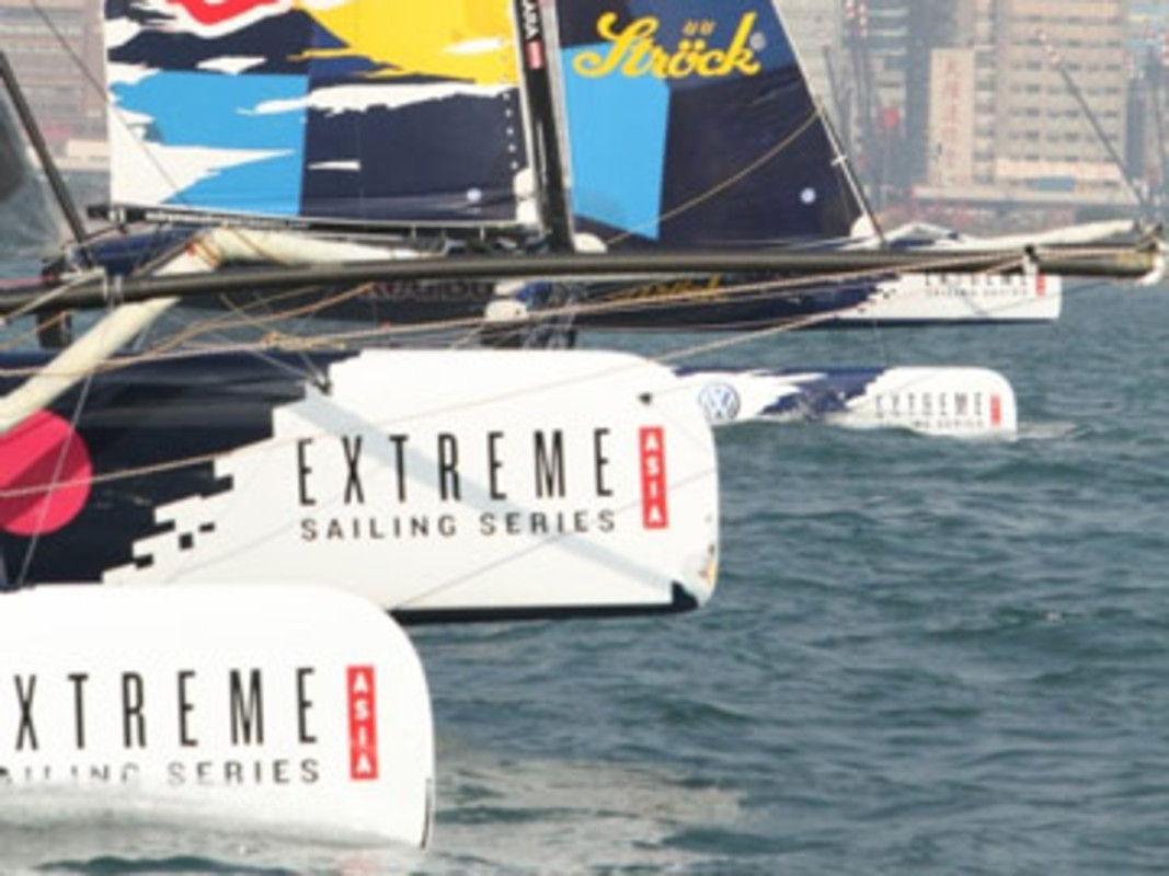 Red Bull Extreme Sailing Team on the final day of the Extreme Sailing Series Asia in Hong Kong