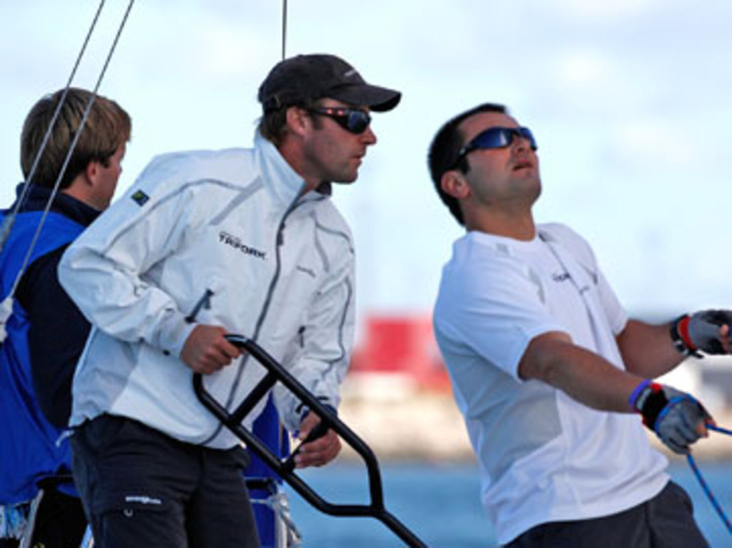 Skipper Jes Gram Hansen (l) and Pier Luigi de Felice in action on day one in Denmark