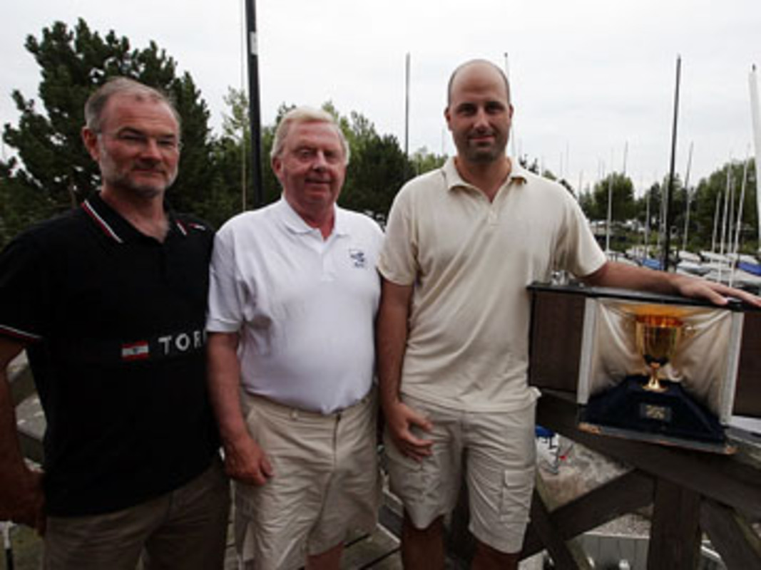 (l-r) Dan IBSEN, Göran PETERSSON and Balazs HAJDU with the Finn Gold Cup