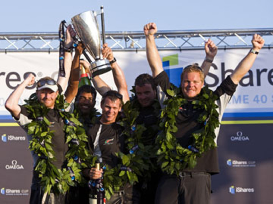 Skipper Pete Cumming and the Oman Sail Masirah celebrate overall victory in the iShares Cup 2009