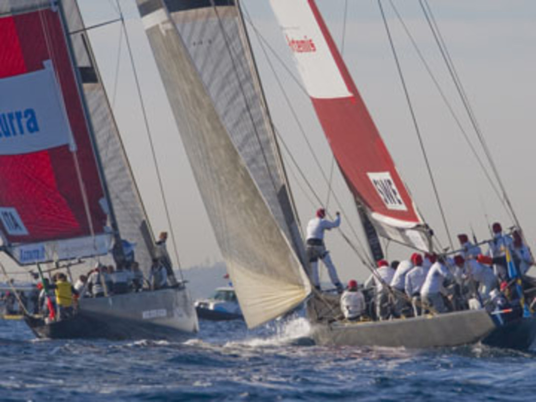 Italy's Azzurra (left) and Sweden's Artemis had an eventful pre-start, which saw the Swedish team penalized for failing to keep clear