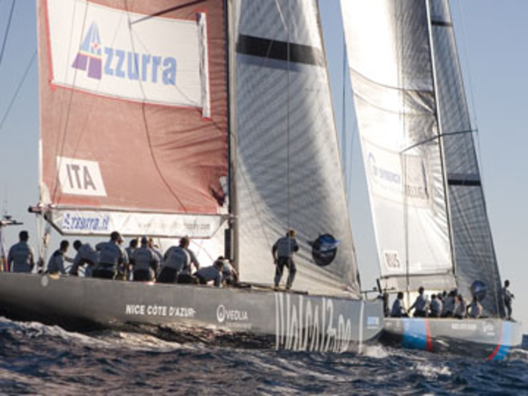 Azzurra and Synergy line up for their start in flight 10
