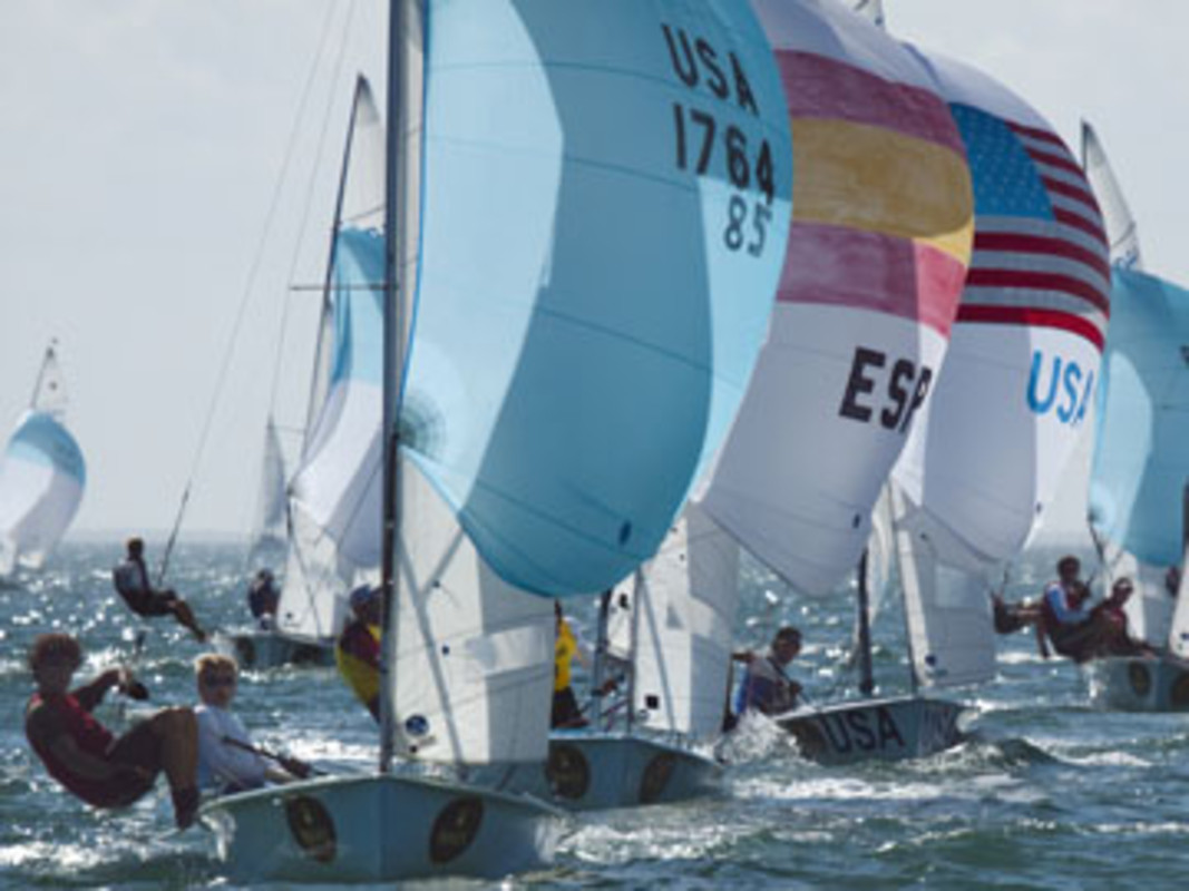 The Men's 470 fleet racing at last year's Rolex Miami OCR